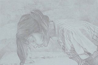 Robert Baxter, Lithograph, Woman Writing