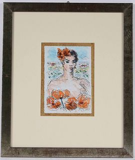 Michele Cascella, Lithograph, Woman with Flowers