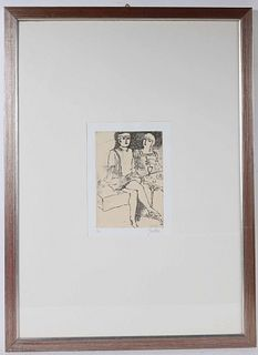 Franco Gentilini, Lithograph, Two Women Dining