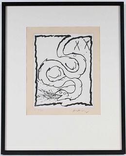 Pierre Alechinsky, Abstract Lithograph of Snake