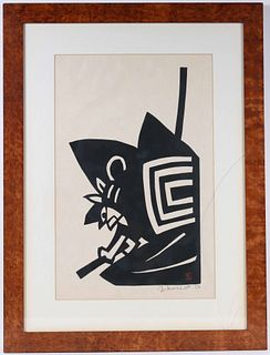 Yoshitoshi Mori, Woodblock Print, Abstract Figure