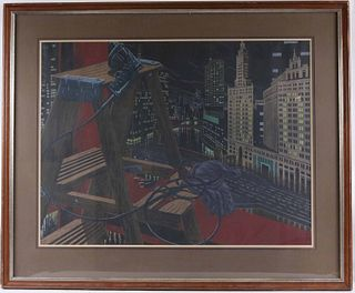 "Herb Fox, Lithograph, ""Gotham City"""