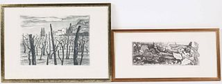 Two Remo Wolf Aquatint Etchings