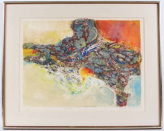 "Yehuda Yordan, Collagraph Print, ""Painting"""