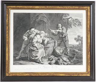 """Engraving, After A. la Nain, """"La Surprise du Vin"""""""
