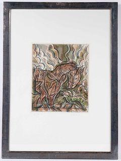 Aquatint Lithograph, Horse