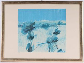 Abstract Lithograph in Blue