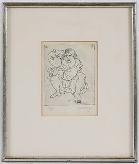 Hertha Spielberg, Lithograph, Seated Woman