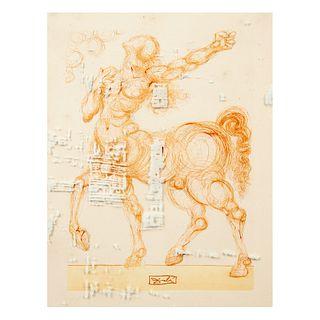 SALVADOR DALÍ. Chant 25: Le Centaure, de la carpeta La Divine Comédie, 1960. Firmado en plancha. Grabado calcográfico. 25 x 18 cm