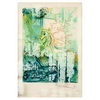 SALVADOR DALÍ. Firmada en plancha, Neptune,de la carpeta Les Chevaux Daliniens, 1970-1972. Litografía sin número de tiraje. 40 x 30 cm