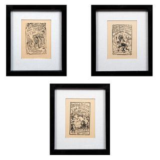 """JOSÉ GUADALUPE POSADA. Lote de 3 obras gráficas. Consta de: """"Blanca Nieves y los siete enanos"""", """"Machaquito"""" y """"El moderno payaso""""."""