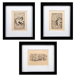 """JOSÉ GUADALUPE POSADA Lote de 3 obras gráficas. Consta de: """"Un domingo en la Alameda"""", """"Colección de cartas amorsosas No. 12"""", otra."""