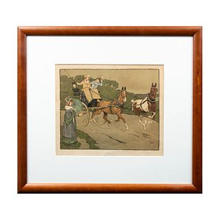 "CECIL CHARLES WINDSOR ALDIN ""Going Well"" Firmada Cecil A. Loin Litografía coloreada Enmarcada 51 x 67 cm"
