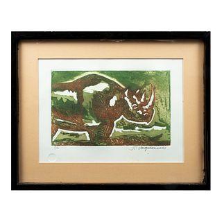 """RAÚL ANGUIANO """"Rinoceronte"""", 2001 Firmado y fechado al frente y al reverso Grabado al aguafuerte P/C Enmarcado 51 x 64 cm"""