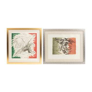 CARMEN PARRA. Lote de 2 obras por el Bicentenario. Consta de: Águila. Litografía 36/150. 60 x 60 cm. y Ángel Bicentenario.