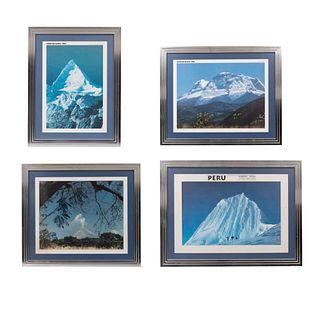 Lote de 4 obras. Paisajes de montañas. Impresiones sobre papel. Enmarcados.