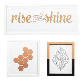 """Lote de 3 obras. SXXI. Enmarcados Consta de: a) CLOTILDE. Sin título y """"Rise and Shine"""". Impresión sobre papel 3/100 y 15/100. Otro."""