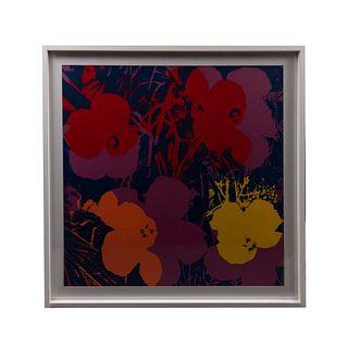 """ANDY WARHOL. II.66 : Flowers. Con sello en la parte posterior """"Fill in your own signature"""". Serigrafía. Enmarcado. 91-4 x 91.4 cm"""