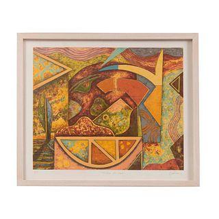 """ÓSCAR GUTMAN. """"Historia del maíz"""". Firmada a lápiz y fechada '96. Litografía P/T. Enmarcado. 50 x 59 cm"""