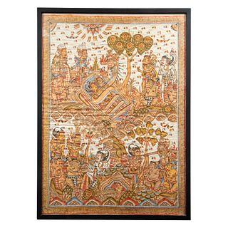 Thangka. Indonesia. Siglo XX. Tinta sobre tela. Enmarcado. 91 x 66 cm
