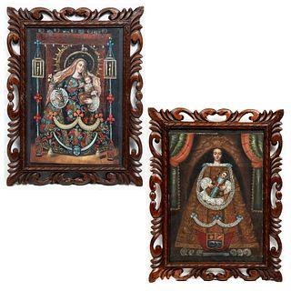 Lote de 2 obras. Consta de: RENE CALLO S. Virgen con niño. Firmado. Óleo sobre tela. 28 x 19 cm. Otro.