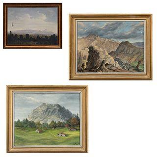 """Lote de 3 obras. Consta de: LLavilla """"Paisaje rocoso"""" Firmado y fechado 1959. Óleo sobre tela. 58 x 70 cm. Otros."""