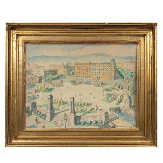 Firma sin identificar. Vista de plaza. Acuarela. Enmarcada. 47 x 62 cm.