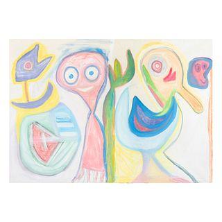 """ELISEO GARZA """"ELGAR"""". En el campo. Firmada. Técnica mixta sobre tela. Incluye certificado de autenticidad. 100 x 140 cm."""