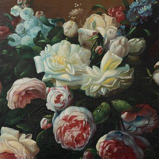 FIRMA SIN IDENTIFICAR. Bouquet. Firmado y fechado '49 al frente. Óleo sobre tela. Enmarcado. 87 x 118 cm