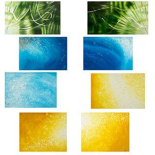 FIRMA SIN IDENTIFICAR. Lote de 8 obras. Abstracciones en diferentes colores. Acrílico sobre tela. Sin enmarcar.