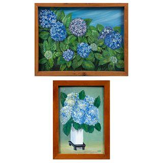 ESPE Lote de 2 obras. Bouquets. Firmados al frente, uno fechado '96. Óleo sobre tela y Óleo sobre tela sobre tabla. Enmarcados.