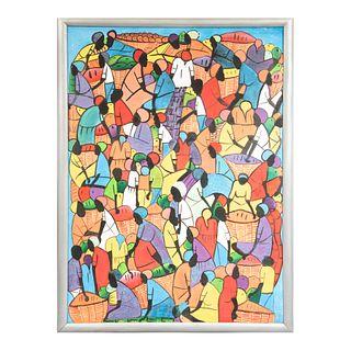 "GLADYS AGUSTÍN ""La Habana"" Sin firma Acrílico sobre tela Enmarcado 103 x 77 cm"