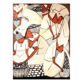 "GLADYS AUGUSTIN ""Las Cubanas"" Firmada al frente Acrílico sobre tela Sin enmarcar 100 x 75 cm"
