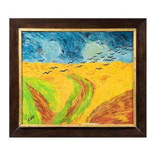 """SYLVIA DULTZIN ARDITTI """"Gaviotas"""" Reproducción de la obra """"Wheatfield with crows"""" de Vincent Van Gogh Firmada Óleo sobre tela Enmarcado"""