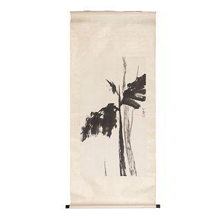 """ANNA WU WEAKLAND Kakemono """"Banana Leaves"""" Firmado y sellado Tinta sobre papel sobre tela 110 x 60 cm área estampada"""