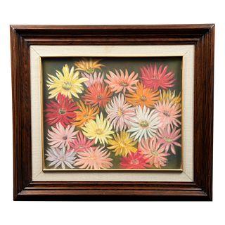 """ÁNGELES CLEMENTE DE MOYA """"Gerbera flor de México"""" Firmada y fechada 93 al frente Pastel sobre papel Enmarcada Con certificado 62 x 72cm"""