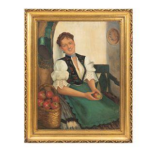 Firma sin identificar. Mujer con manzanas. Óleo sobre tela. Enmarcado. 78 x 58 cm