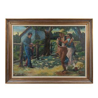 FIRMA SIN IDENTIFICAR. Sin título. Firmado al frente. Óleo sobre tela. Enmarcado. 106 x 141 cm
