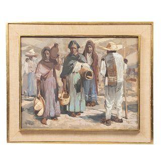 Luis Ricardo Amendolla Gasparo. Personajes. Óleo sobre tela. Firmado. Enmarcado. 55 x 70 cm