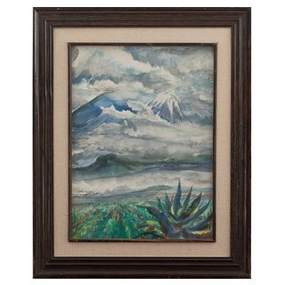 J. HAUSSMAN. Pico de orizaba. Firmado y fechado 1988. Acuarela sobre papel. Enmarcada. 38 x 28 cm