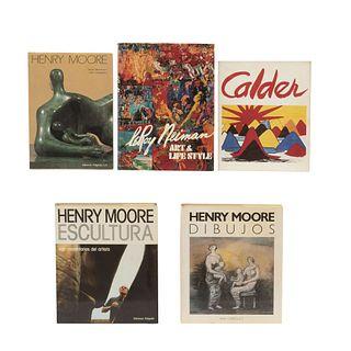 LIBROS SOBRE PINTORES Y ESCULTORES MODERNOS.  Henry Moore /  Leroy Neiman. Art and Life Style / Calder / Henry Moore Dibujos. Pzas: 5.