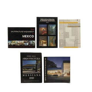 LIBROS SOBRE BIENAL DE ARQUITECTURA, INTERIORISMO Y FOTOGRAFÍA ARQUITECTÓNICA. a) Primera Bienal Arquitectura Mexicana 1990. Pzs: 5.