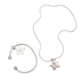 Collar, pulsera y dos pendientes con turquesas en plata .925.