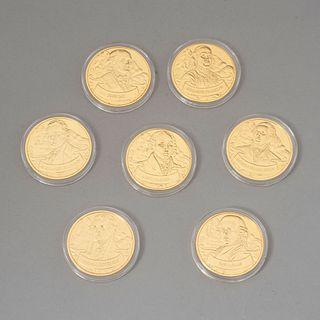 Colección de monedas conmemorativas de los padres fundadores de Estados Unidos.  Estados Unidos, siglo XXI. Franklin Mint. En...