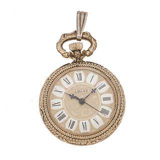 Reloj Jubilee de bolsillo. Movimiento manual. Caja circular en acero dorado. Carátula color dorado con índices de   números ro...