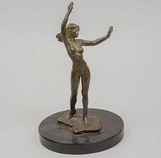 """VÍCTOR GUTIÉRREZ. """"Estudio No. 2"""", 1987 Firmada. Fundición en bronce X-XII. Con base y etiqueta de Arte Nucleo. 24 cm altura (con base)"""
