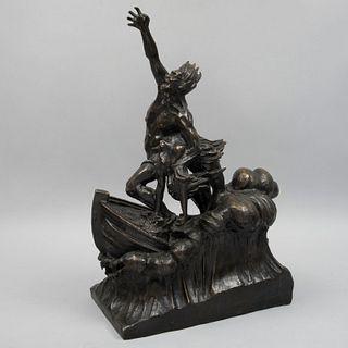 ANÓNIMO. Náufragos. Fundición en bronce. 67 cm altura
