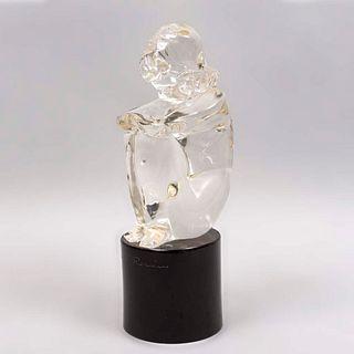 LOREDANO ROSIN Figura femenina Siglo XX. Firmada. Elaborada en cristal de murano transparente. Con base color negro. 38.5 cm altura