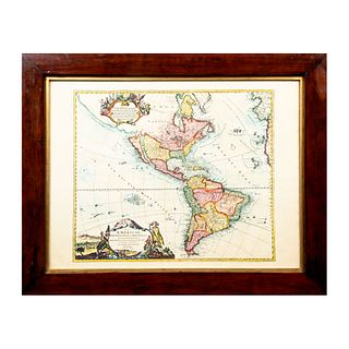 """JOHANNES BAPTISTA HOMANN Mapa de América Septentrional y Meridional """"Americae Septentrionalis et Merdionalis Novissima Representatio"""""""
