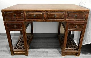 Chinese Jumu Wood Desk with Marble
